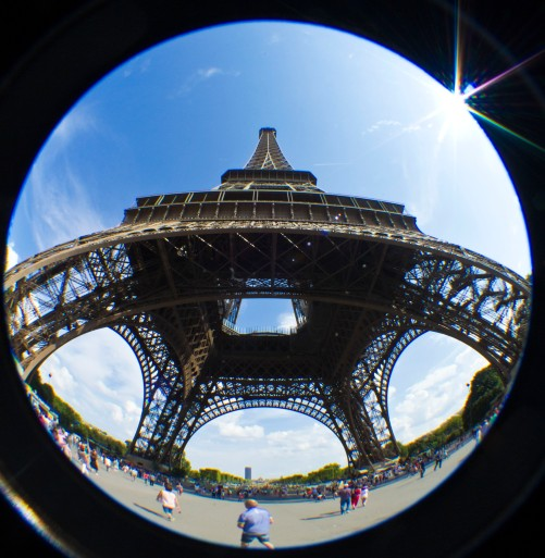 eiffel tower, paris, fisheye photography