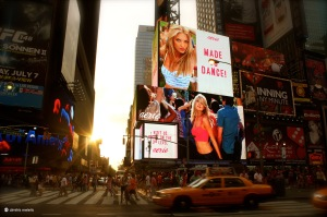 New York, NY, NYC, time square, traffic, advertisements, made to dance, sun, cab, taxi,