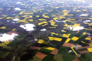 Toulouse, aerial photography, airplane, sky, fields