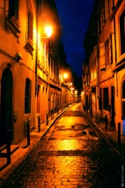 Toulouse, night, street, blue sky