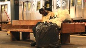 Coney Island, homeless, metro, trash bags, garbage bags,