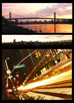 new york, NY, NYC, manhattan, broadway, traffic light, bridge, traffic, long exposure