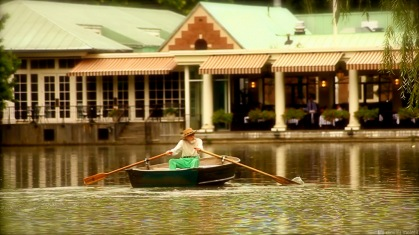 boat, row, lake, NYC, central park, restaurant