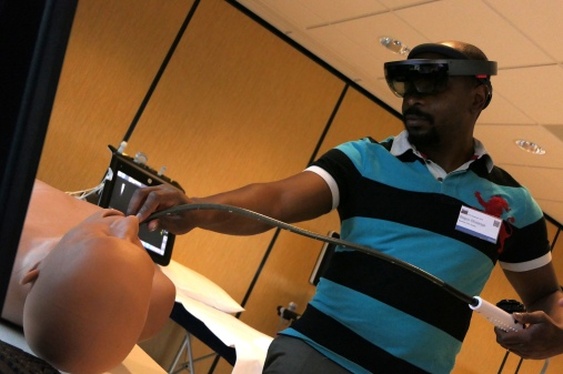 Equipment test wearing VR glasses (virtual reality glasses)